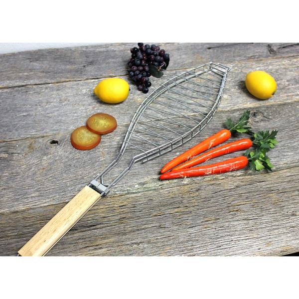 Fish Grill Basket, Silver/Natural